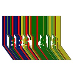 Hot Stripes Grenn Blue Best Sis 3d Greeting Card (8x4)