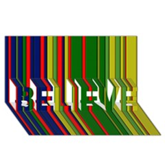 Hot Stripes Grenn Blue BELIEVE 3D Greeting Card (8x4)