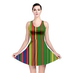 Hot Stripes Grenn Blue Reversible Skater Dresses