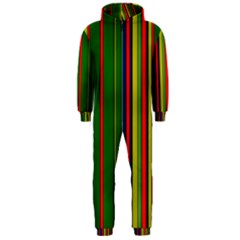 Hot Stripes Grenn Blue Hooded Jumpsuit (Men)