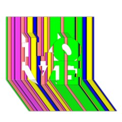 Hot Stripes Rainbow LOVE 3D Greeting Card (7x5)