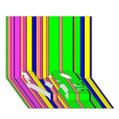 Hot Stripes Rainbow LOVE Bottom 3D Greeting Card (7x5)