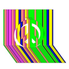 Hot Stripes Rainbow Peace Sign 3D Greeting Card (7x5)