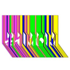 Hot Stripes Rainbow #1 Mom 3d Greeting Cards (8x4)