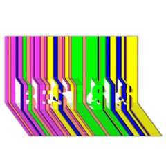 Hot Stripes Rainbow BEST SIS 3D Greeting Card (8x4)