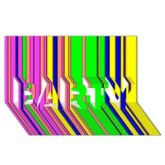 Hot Stripes Rainbow PARTY 3D Greeting Card (8x4)