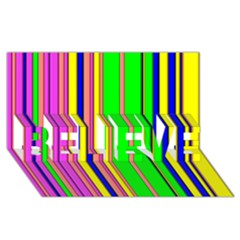 Hot Stripes Rainbow Believe 3d Greeting Card (8x4)