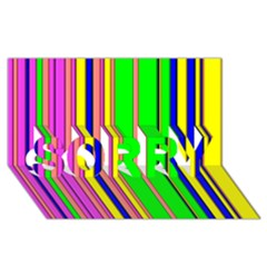 Hot Stripes Rainbow Sorry 3d Greeting Card (8x4)