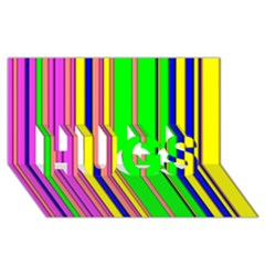 Hot Stripes Rainbow HUGS 3D Greeting Card (8x4)