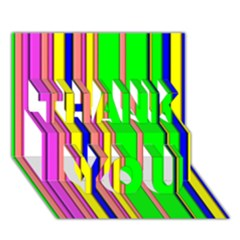 Hot Stripes Rainbow Thank You 3d Greeting Card (7x5)