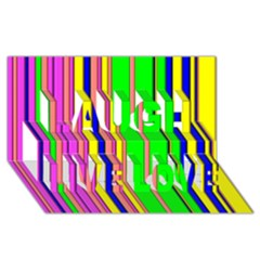 Hot Stripes Rainbow Laugh Live Love 3d Greeting Card (8x4)