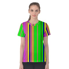 Hot Stripes Rainbow Women s Cotton Tees