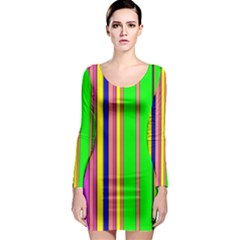 Hot Stripes Rainbow Long Sleeve Bodycon Dresses