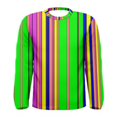 Hot Stripes Rainbow Men s Long Sleeve T Shirts