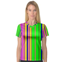 Hot Stripes Rainbow Women s V-Neck Sport Mesh Tee