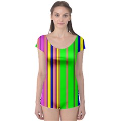 Hot Stripes Rainbow Short Sleeve Leotard