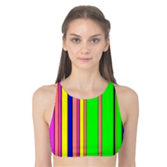 Hot Stripes Rainbow Tank Bikini Top