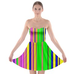 Hot Stripes Rainbow Strapless Bra Top Dress