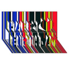 Hot Stripes Red Blue Happy Birthday 3D Greeting Card (8x4)