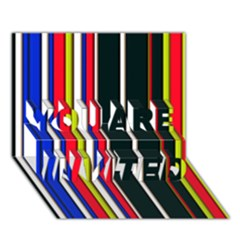 Hot Stripes Red Blue YOU ARE INVITED 3D Greeting Card (7x5)