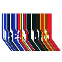 Hot Stripes Red Blue BEST BRO 3D Greeting Card (8x4)