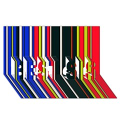Hot Stripes Red Blue BEST SIS 3D Greeting Card (8x4)