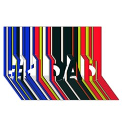 Hot Stripes Red Blue #1 DAD 3D Greeting Card (8x4)