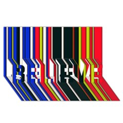 Hot Stripes Red Blue BELIEVE 3D Greeting Card (8x4)
