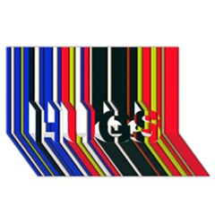 Hot Stripes Red Blue HUGS 3D Greeting Card (8x4)