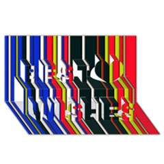Hot Stripes Red Blue Best Wish 3D Greeting Card (8x4)