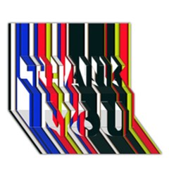 Hot Stripes Red Blue THANK YOU 3D Greeting Card (7x5)