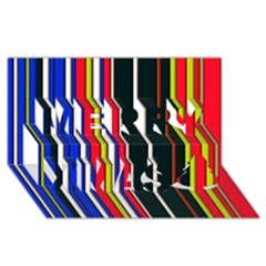 Hot Stripes Red Blue Merry Xmas 3d Greeting Card (8x4)