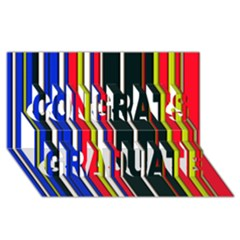 Hot Stripes Red Blue Congrats Graduate 3D Greeting Card (8x4)