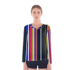 Hot Stripes Red Blue Women s Long Sleeve T Shirts