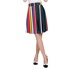 Hot Stripes Red Blue A-Line Skirts