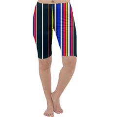 Hot Stripes Red Blue Cropped Leggings
