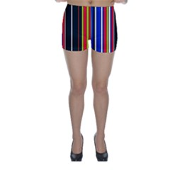 Hot Stripes Red Blue Skinny Shorts