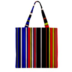Hot Stripes Red Blue Zipper Grocery Tote Bags