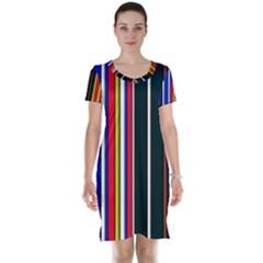 Hot Stripes Red Blue Short Sleeve Nightdresses