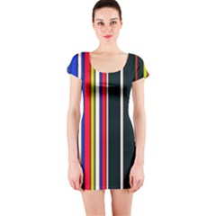 Hot Stripes Red Blue Short Sleeve Bodycon Dresses