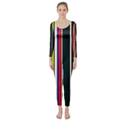 Hot Stripes Red Blue Long Sleeve Catsuit