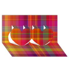Plaid, Hot Twin Hearts 3d Greeting Card (8x4)