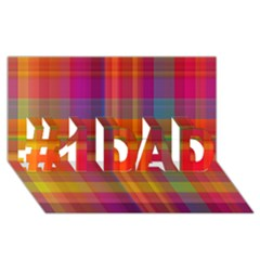Plaid, Hot #1 Dad 3d Greeting Card (8x4)