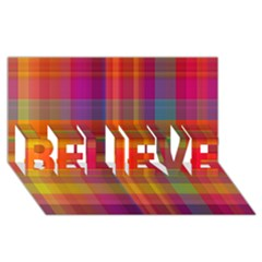 Plaid, Hot BELIEVE 3D Greeting Card (8x4)