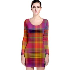 Plaid, Hot Long Sleeve Bodycon Dresses