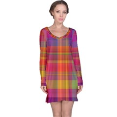 Plaid, Hot Long Sleeve Nightdresses
