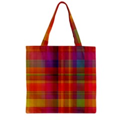 Plaid, Hot Zipper Grocery Tote Bags