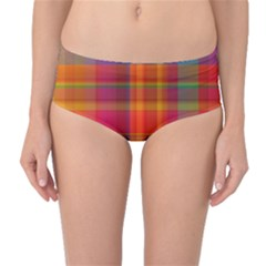 Plaid, Hot Mid Waist Bikini Bottoms