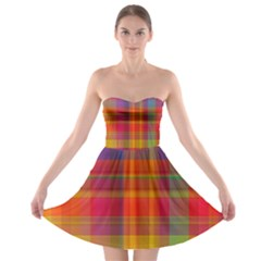 Plaid, Hot Strapless Bra Top Dress