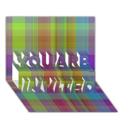 Plaid, Cool YOU ARE INVITED 3D Greeting Card (7x5)
